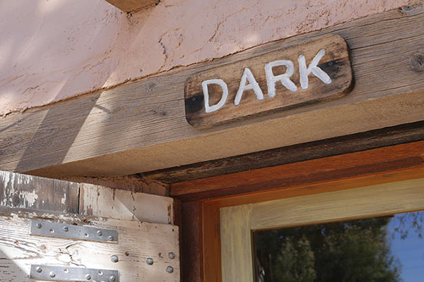Hand carved Dark Room sign
