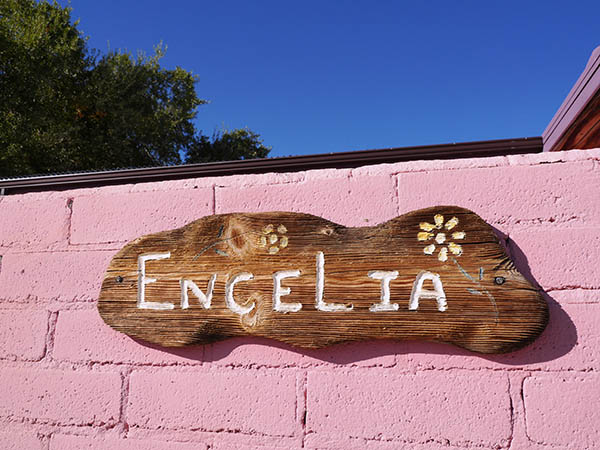 Hand carved Encelia adobe sign
