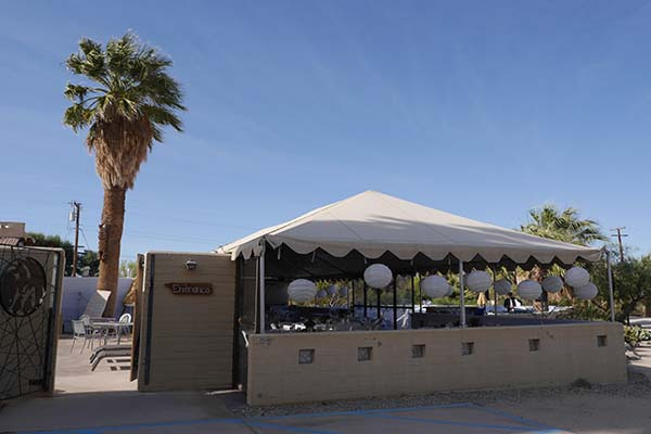 Covered event tent 29 Palms Inn