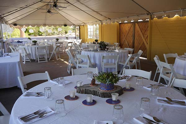 Wedding reception set up in tent 29 Palms Inn
